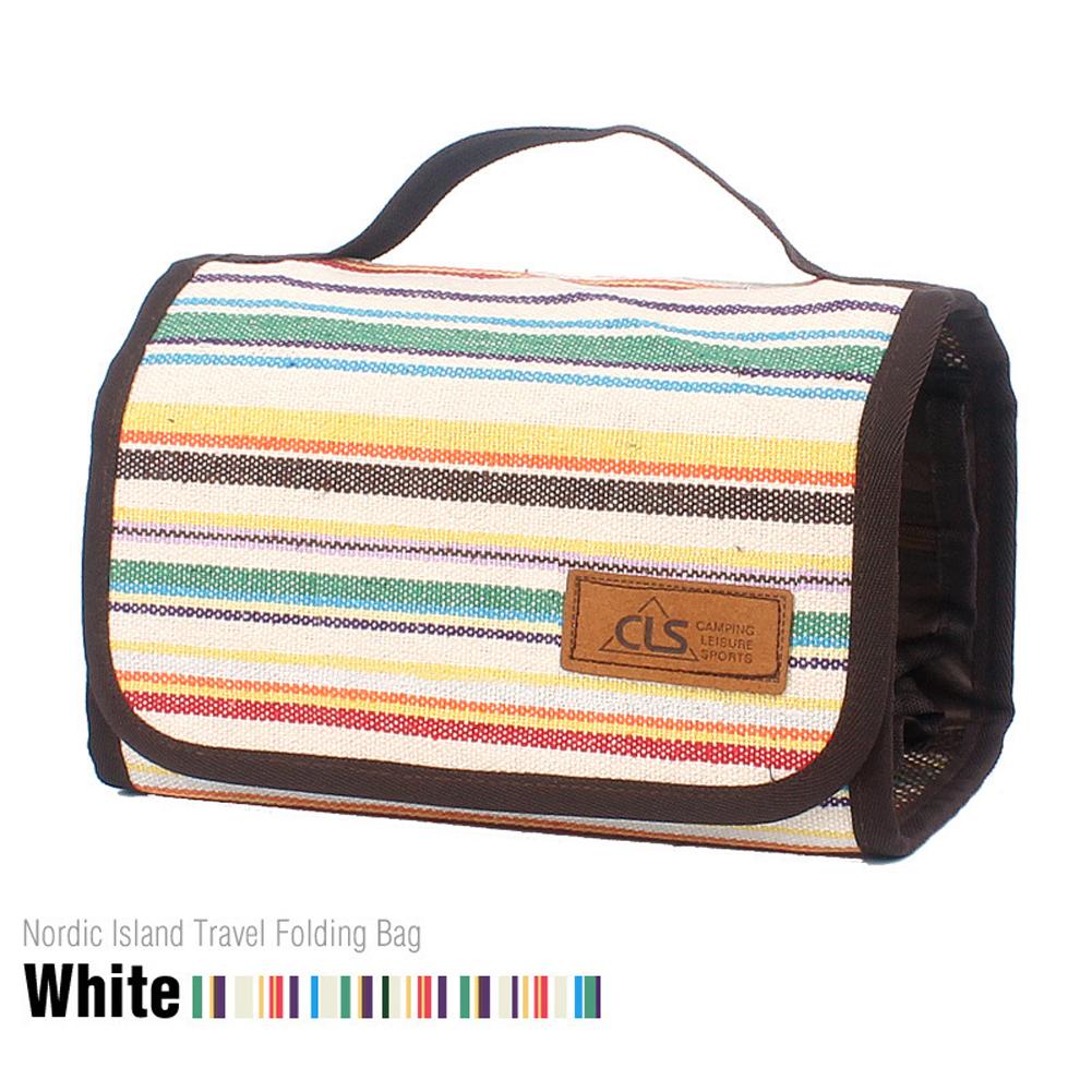Outdoor Camping Portable Washing Bag Cosmetic Bag Storage Bag Smooth Zipper Fashionable Cotton Linen Mesh Bag White stripes
