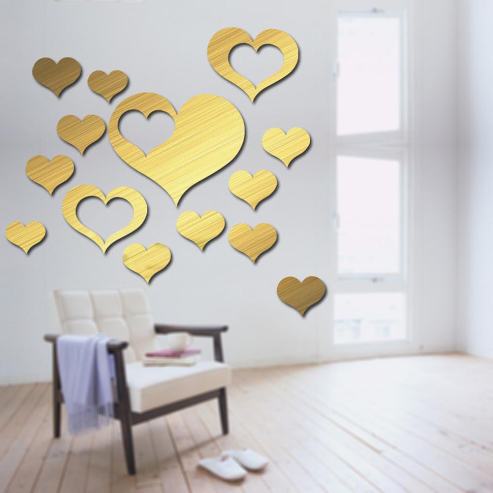 DIY Loving Heart Shape Mirror Surface Acrylic Wall Sticker for Bedroom Living Room Decor M010 gold