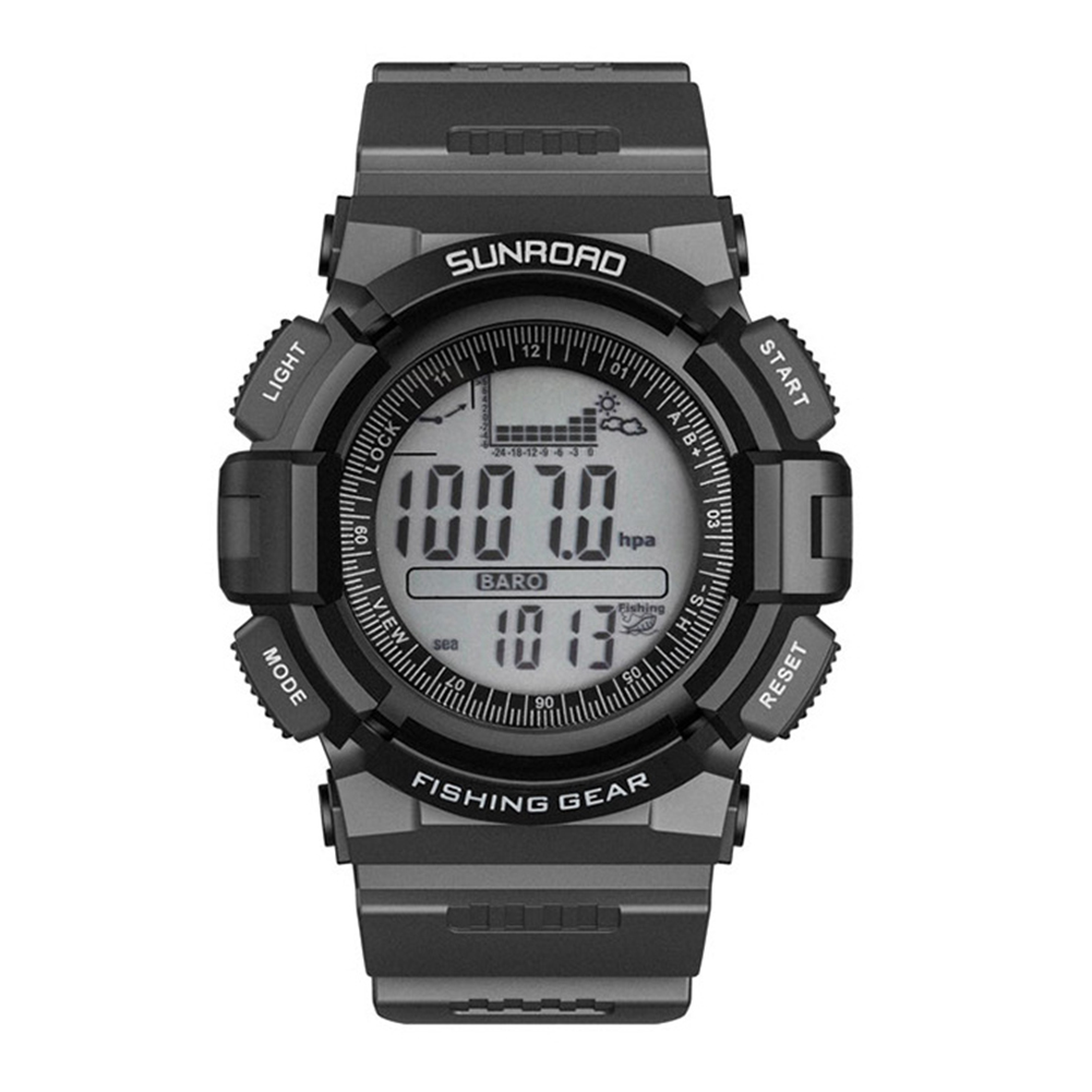Men Sports Digital Watches-Weather Forecast Waterproof Hiking Compass Barometer Altimeter Thermometer Watches Gray-black