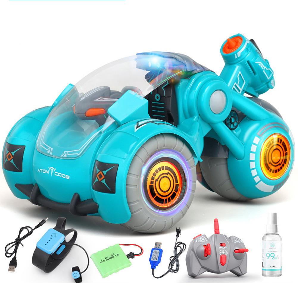 2.4G RC Stunt Car Dual Remote Control Gesture Sensing Spray Drift Car Model Toy for Kids blue