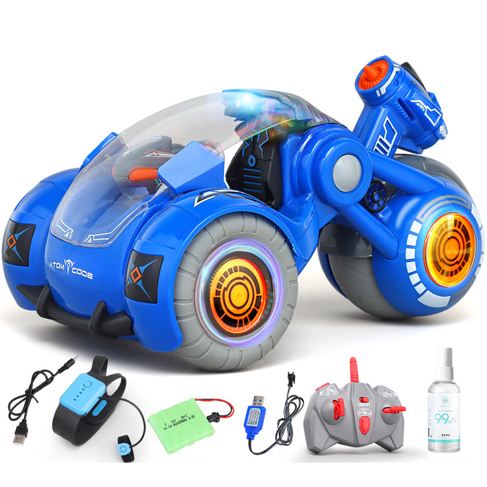 2.4G RC Stunt Car Dual Remote Control Gesture Sensing Spray Drift Car Model Toy for Kids blue