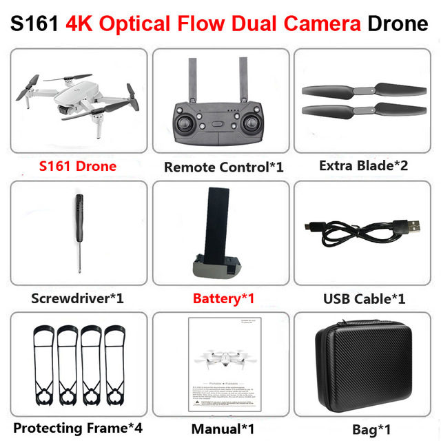 S161 Drone 4k Hd Dual Camera Wifi Fpv 2.4ghz Quadcopter Drone Gesture Control Photo Optical Flow Kids Toys 4K single camera