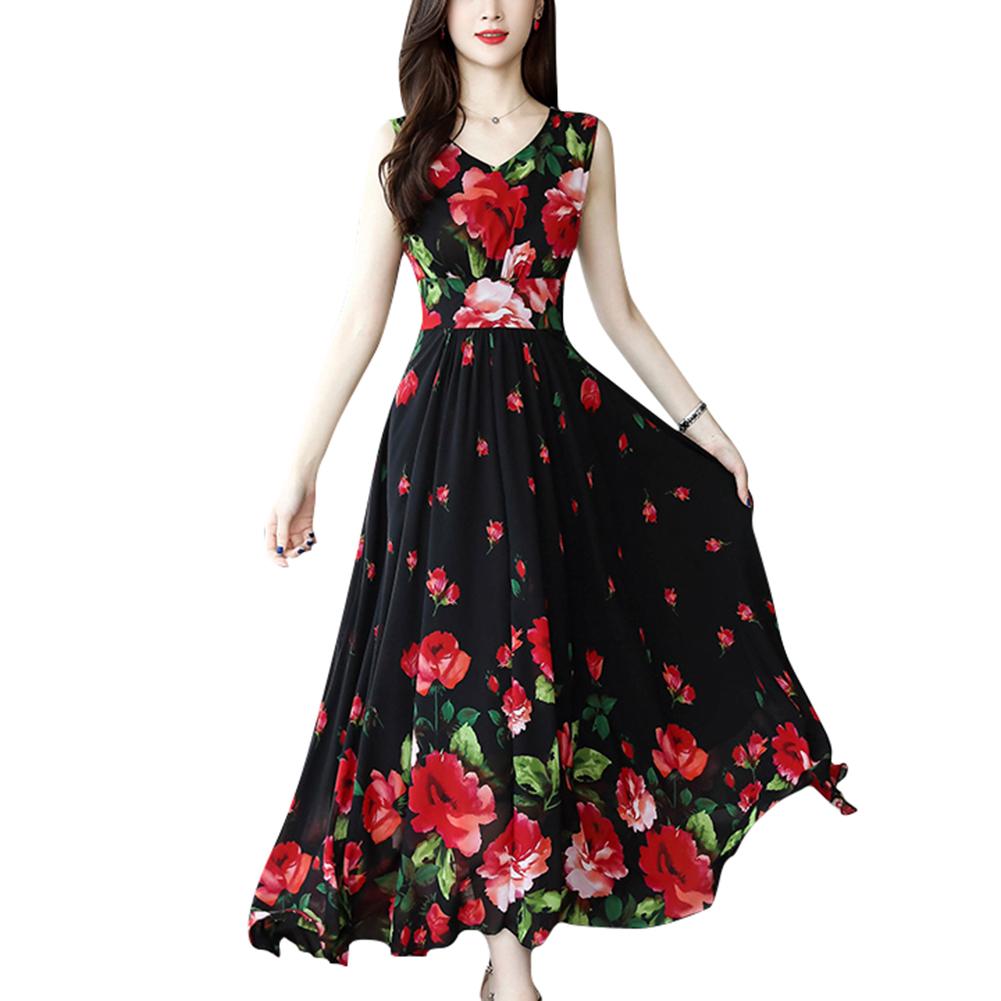 Women Elegant Fashion Summer Chic Flower Printing Thin Waist Sleeveless Long A-line Dress Photo Color_XL