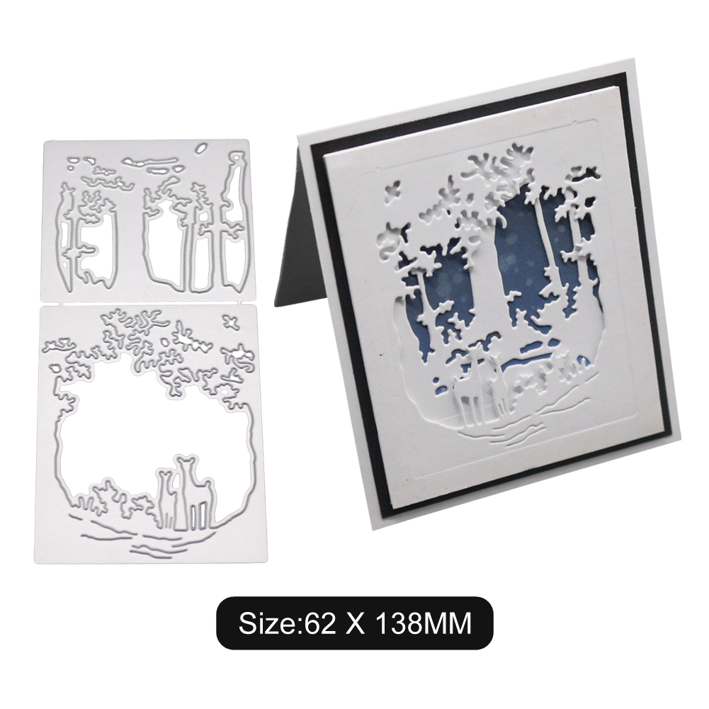 Deer Forest Pattern DIY Etching Carbon Steel Cutting Dies for Scrapbook Story Background 2100184