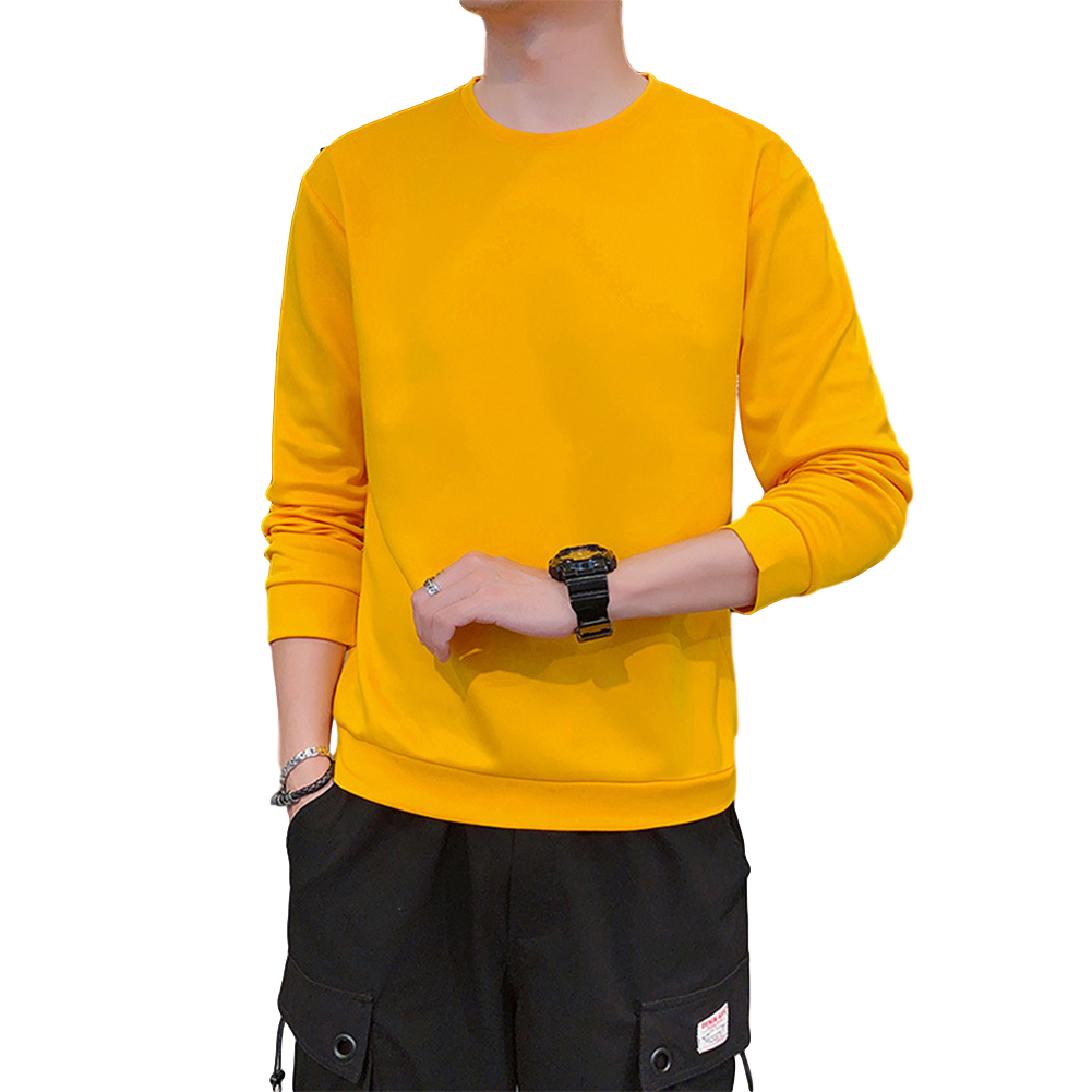 Men's Sweatshirt Round Neck Long-sleeved Solid Color Bottoming Shirt yellow_M