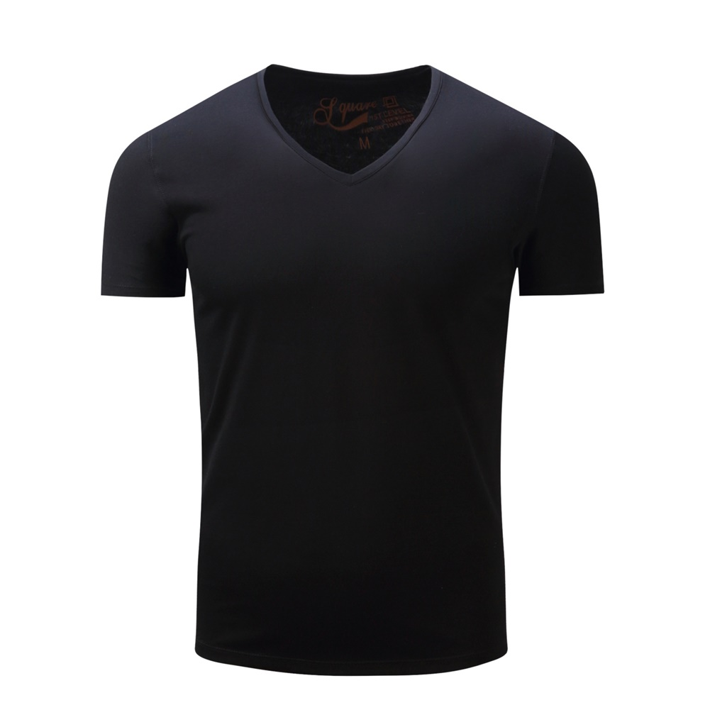 Man Stylish Short Sleeve T-shirt V Collar Pure Cotton Tops Solid Color