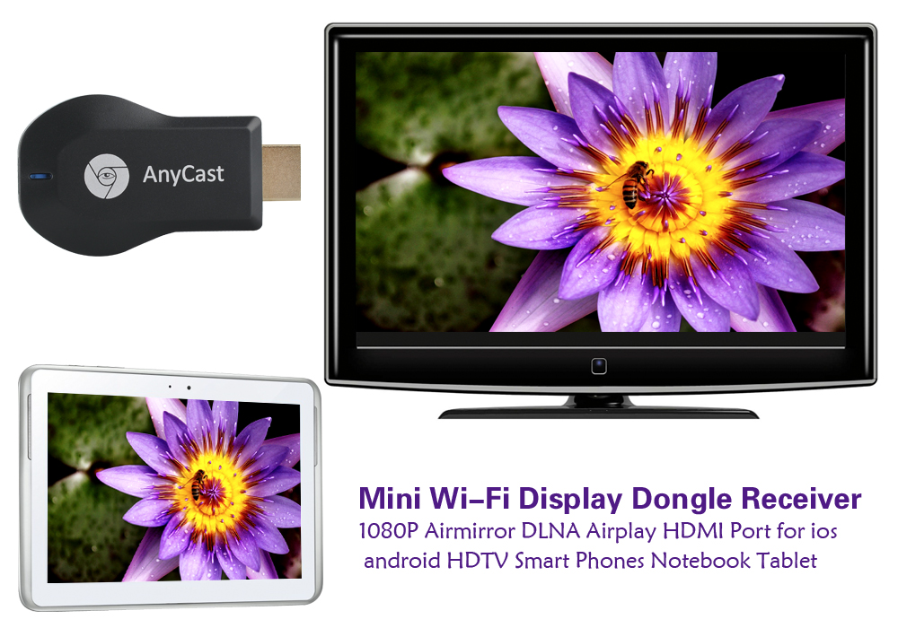 Anycast M2 Plus Wi-Fi Display Receiver - DLNA, Miracast, Airplay, WI-FI 802.11 b/g/n, For Android + iOS