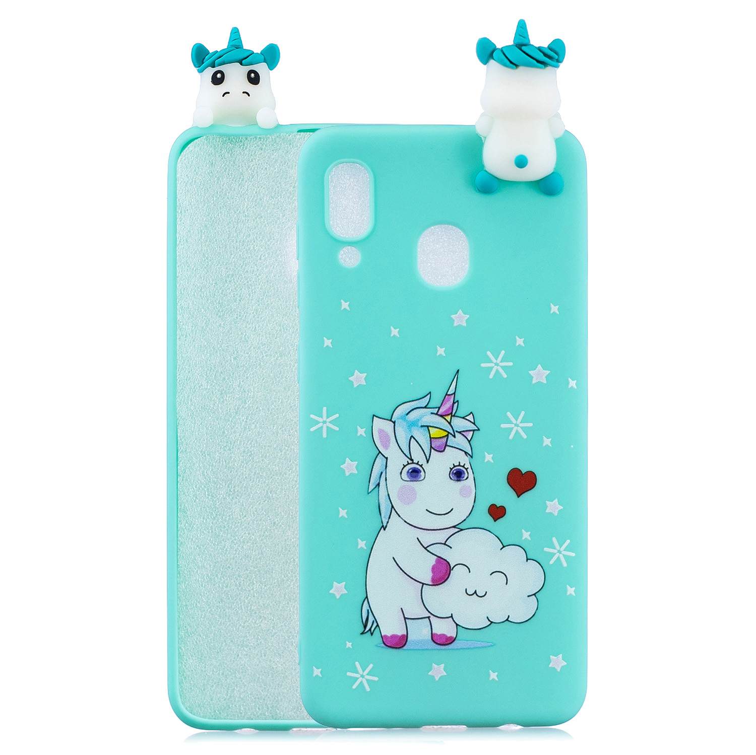 For Samsung A10S A20S Color Painting Pattern Drop Protection Soft TPU Mobile Phone Case+Back Cover Bracket Love unicorn