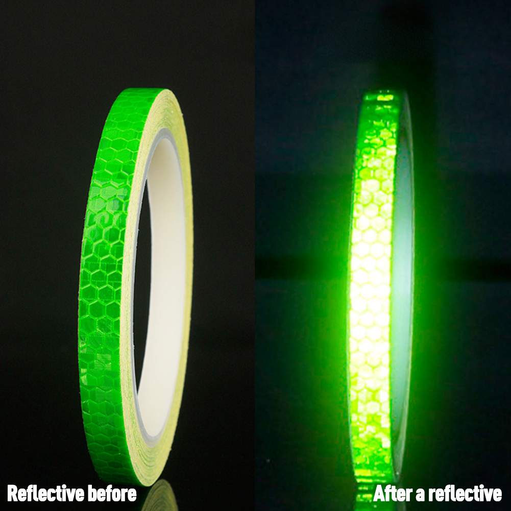 Bicycle Reflective Sticker Tape Noctilucent Waterproof Fluorescent Bike Decoration green_8 meters