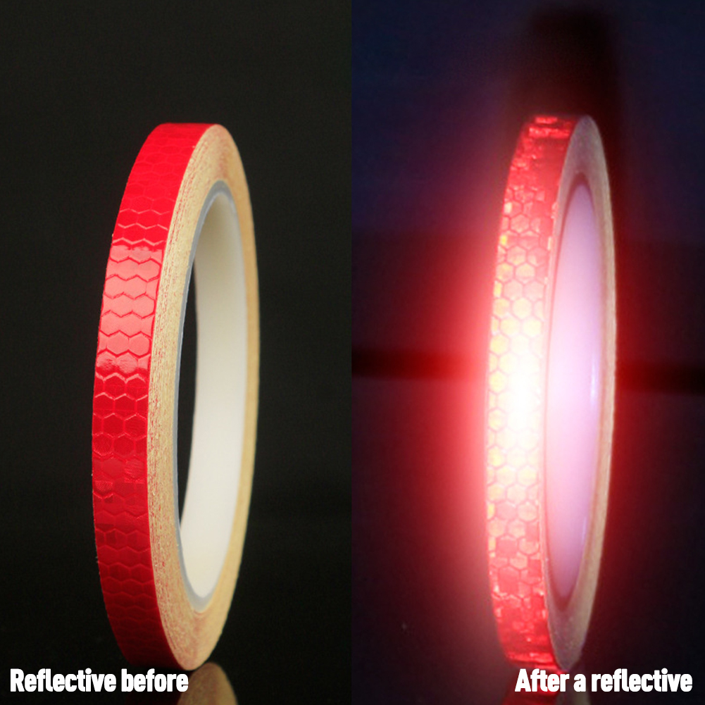 Bicycle Reflective Sticker Tape Noctilucent Waterproof Fluorescent Bike Decoration red_8 meters