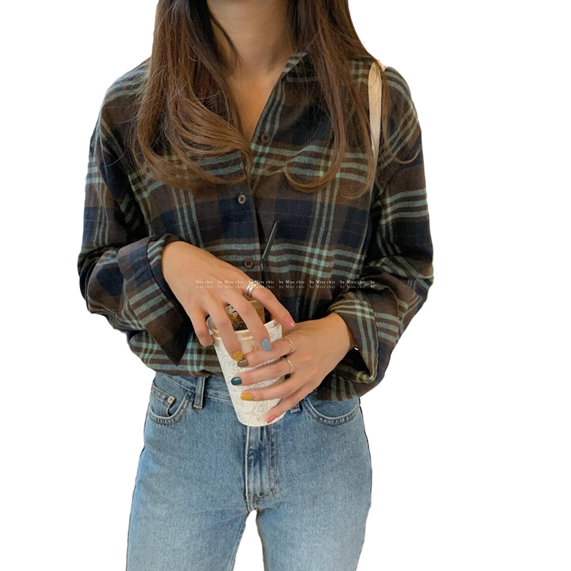 Women Shirt Plaid Shirt With Long Sleeves Lapel Tops Spring and Autumn vintage plaid shirt green_L
