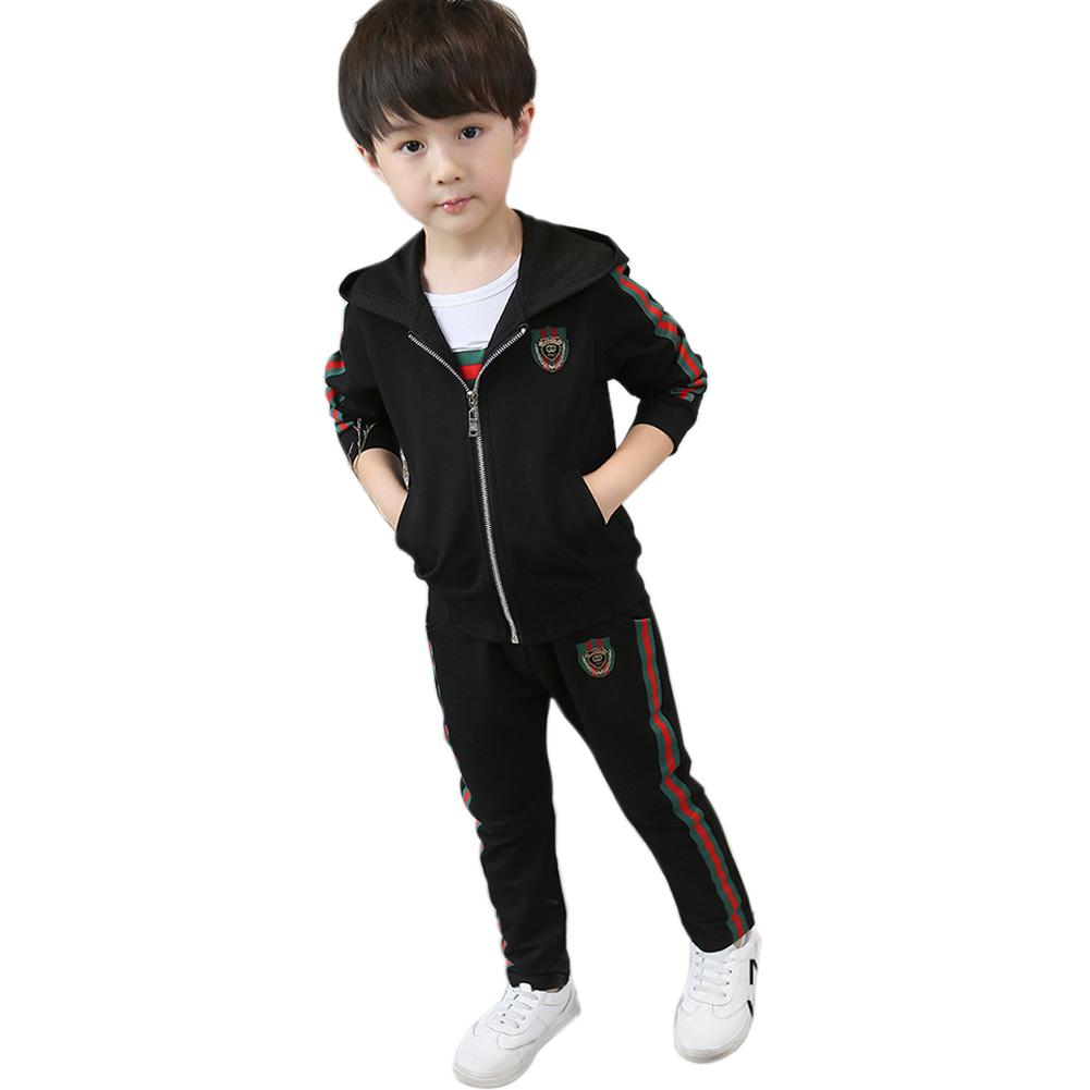 3pcs Kids Boy Hodded Suits Long Sleeve Coat +Tops+Long Trousers Casual Clothes   black_150cm