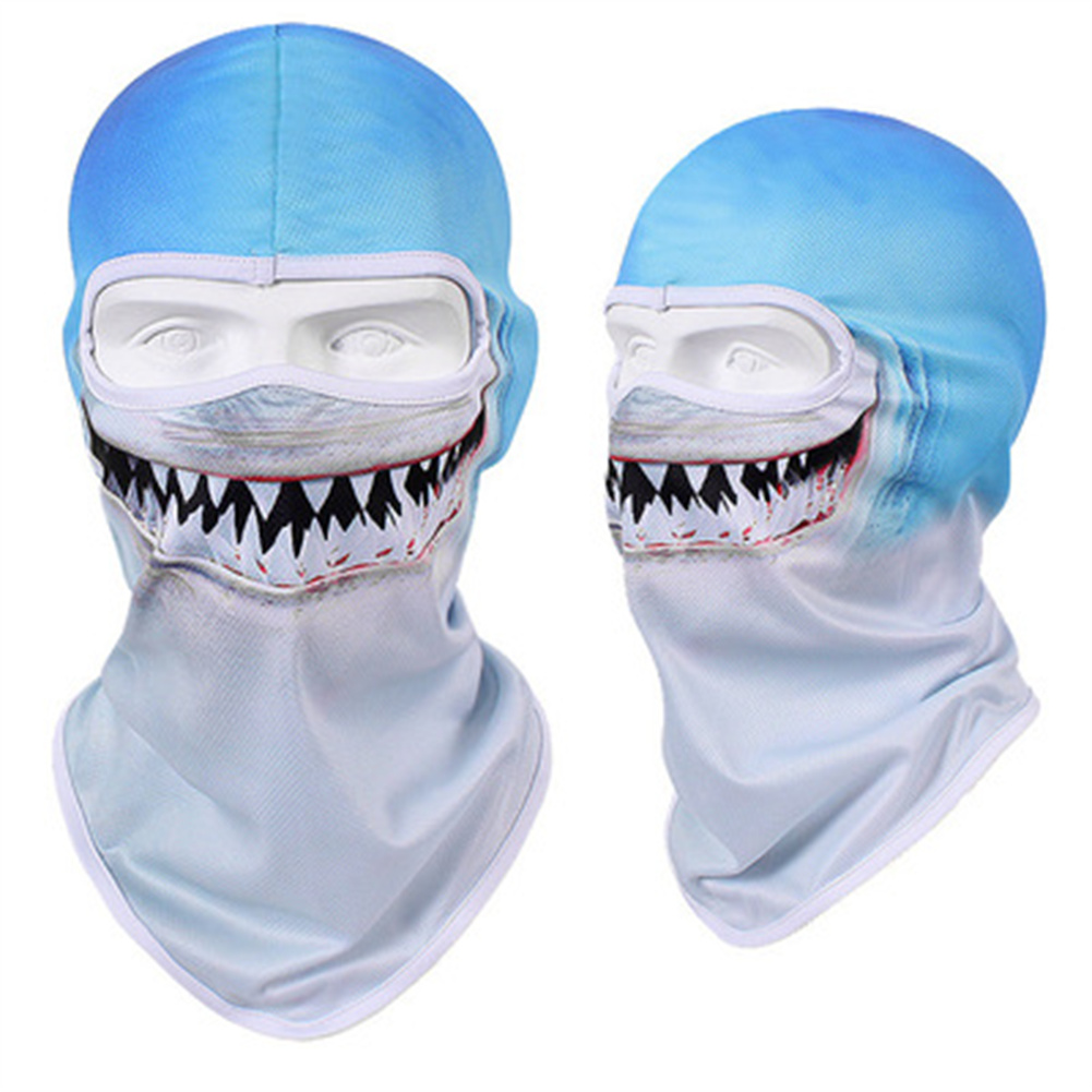 Animal Print Full Face Mask Quick-drying Breathable Single-hole  Headgear Shark_Single-hole  Headgear