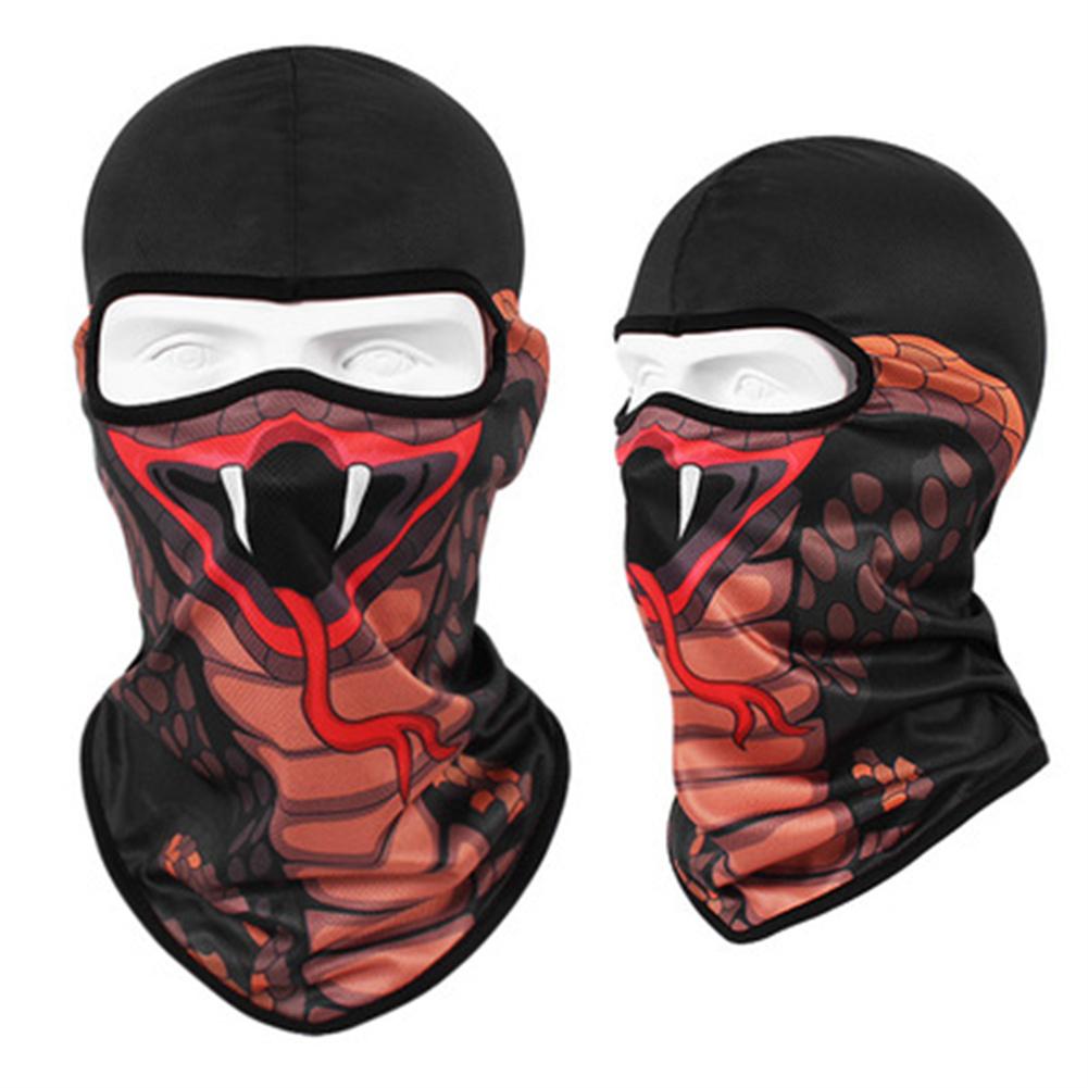 Animal Print Full Face Mask Quick-drying Breathable Single-hole  Headgear Cobra_Single-hole  Headgear