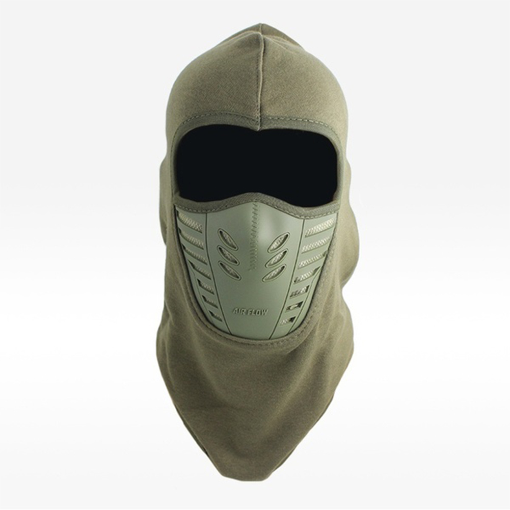 Unisex Bicycle Thermal Winter Warm Hat Windproof Motorcycle Face Mask Hat Neck Helmet Beanies Army Green_One size