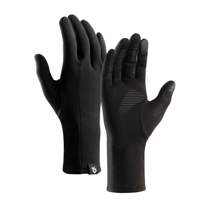 Winter Thermal Warm Full Finger Gloves Cycling Anti-Skid Touch Screen Warm Gloves for Winter Outdoor Sports DB21 black_M