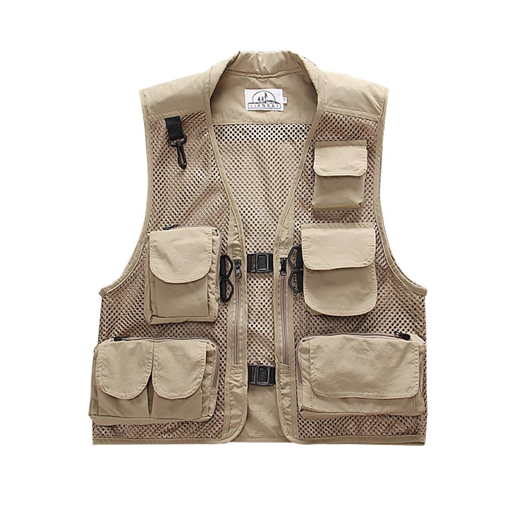 Men Summer Casual Camo Vest Multi-pocket Breathable Mesh Hiking Hunting Vest Professional Photography Jacket Beige_XXL