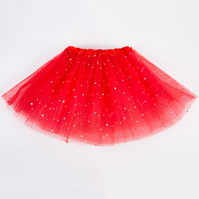 Children Girl Sequined High Elastic Mesh Skirt Dance Bubble Skirt red_One size