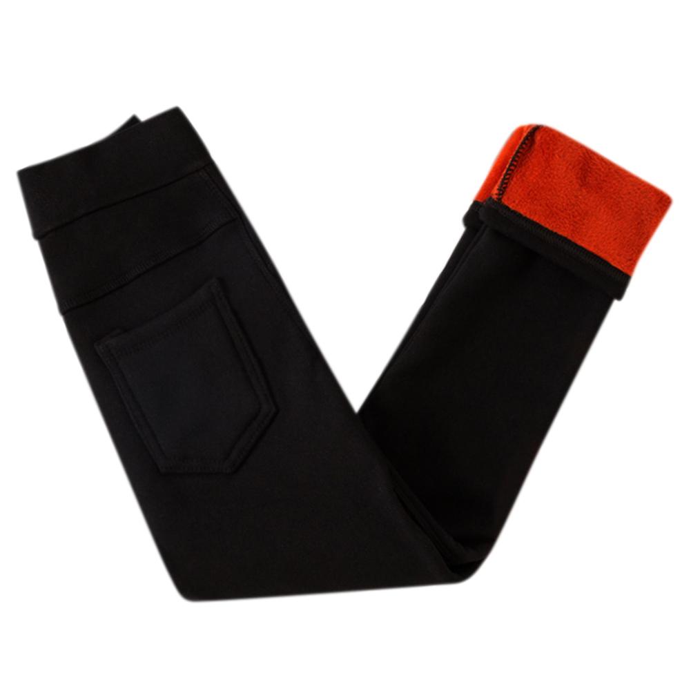 Children Girls Winter Leggings Warm Fleeced Pants Slim Fit Pencil Pants Trousers  black_110cm