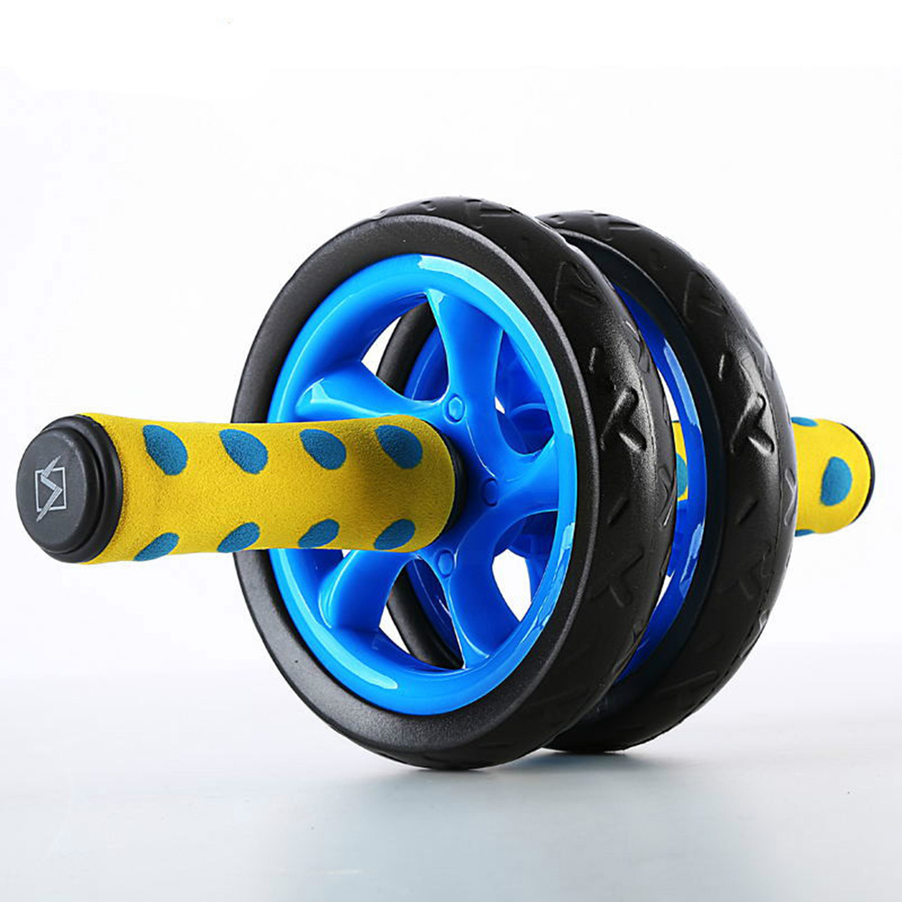 Dual-Wheels Abdominal Roller No Noise with Mat for Muscle Exercise Home Fitness Equipment blue