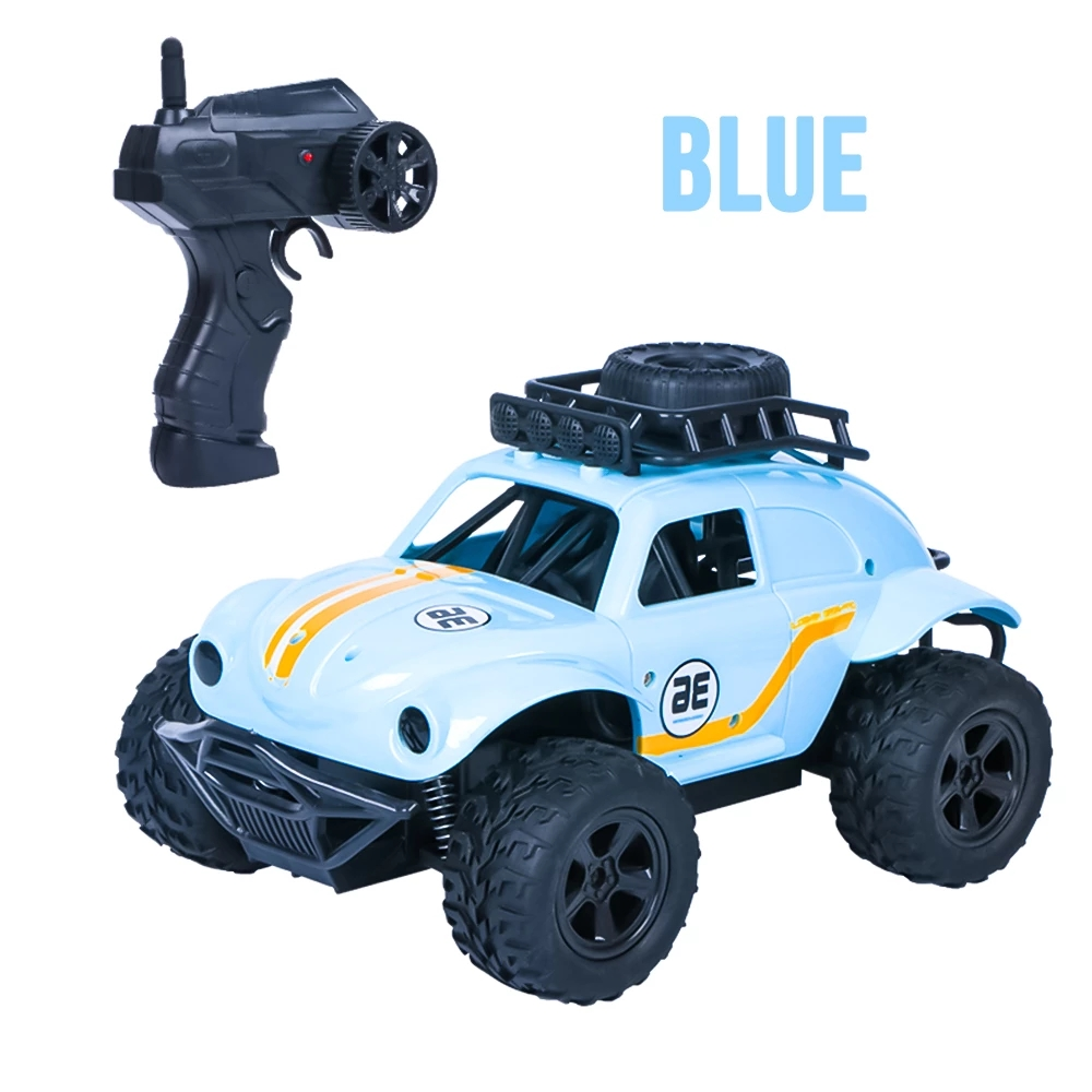 RC Cars Remote Control Toys MN36 off-road climbing car 1:18 beetle two-wheel driver children Youth model blue, silver 2.4GHz blue