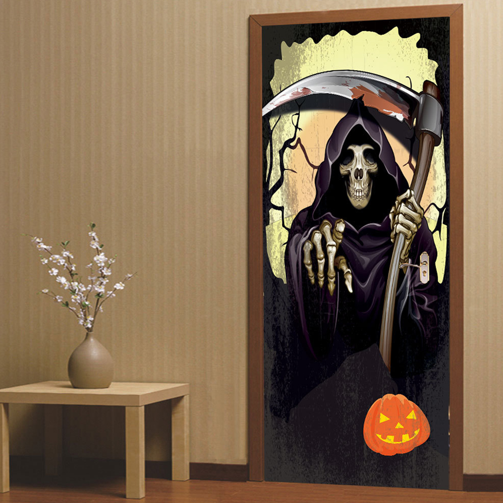 Death Coming Halloween 3d Door Sticker Decor for Wood Door Home Wall  77*200cm one piece