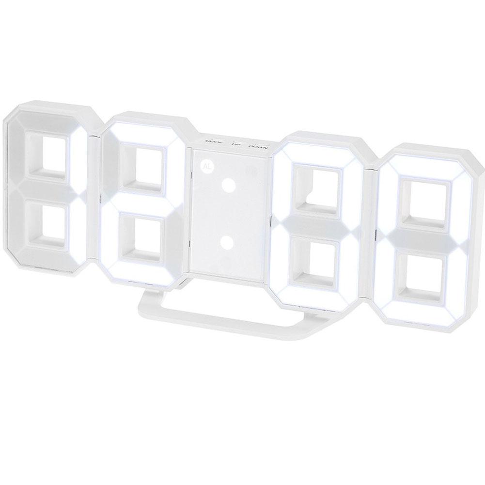 LED Wall Clock Alarm Clock Digital 3D Living Room Explosion Models Electronic Clock white