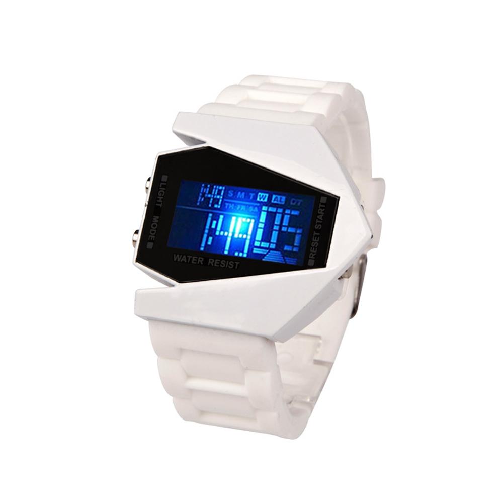 50M Multifunction Wristwatch Men Sport Airplane Design LCD Alarm Men Sport Cuff Watch Band white