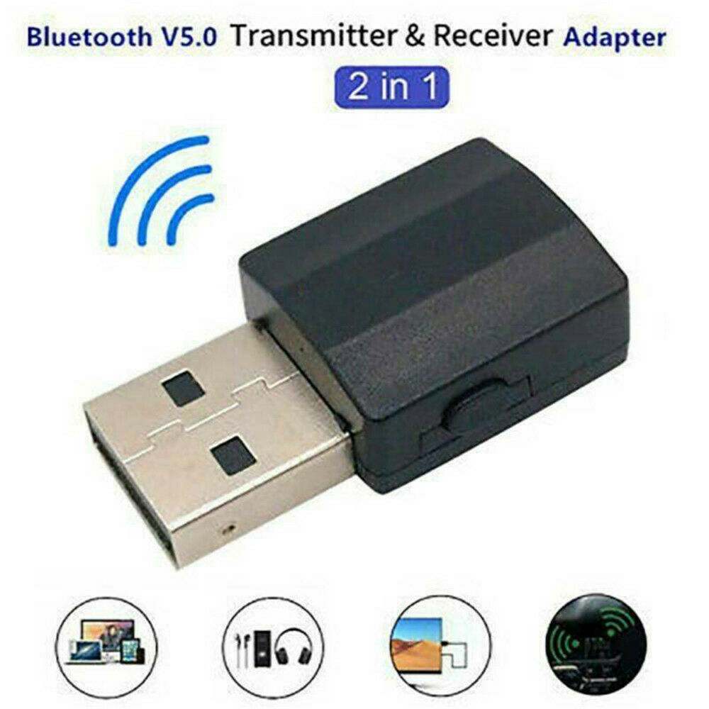 Audio Transmitter Receiver Bluetooth 5.0 USB Dongle Stereo Adapter for TV PC Car black