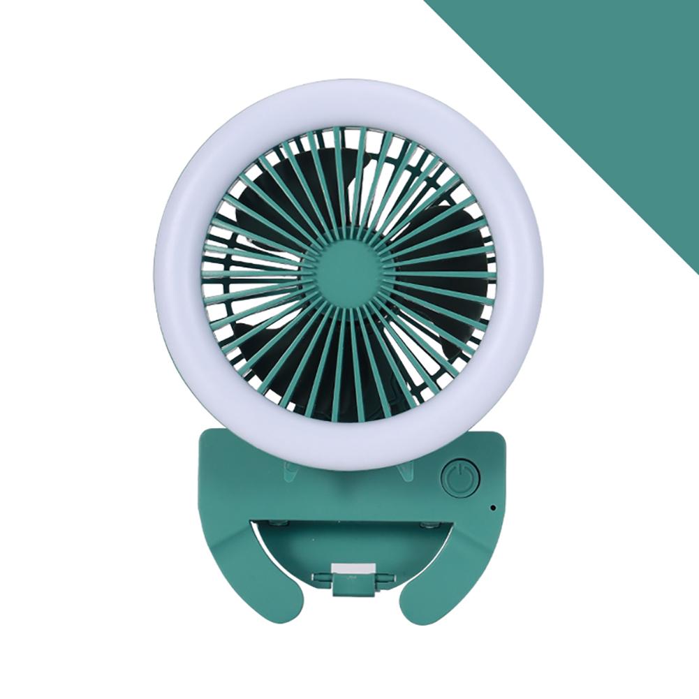 Portable Fan Mobile Phone Selfie Beauty Fill Light Fan with 3 Modes Speed Adjustable Dark green_9.5cm * 9