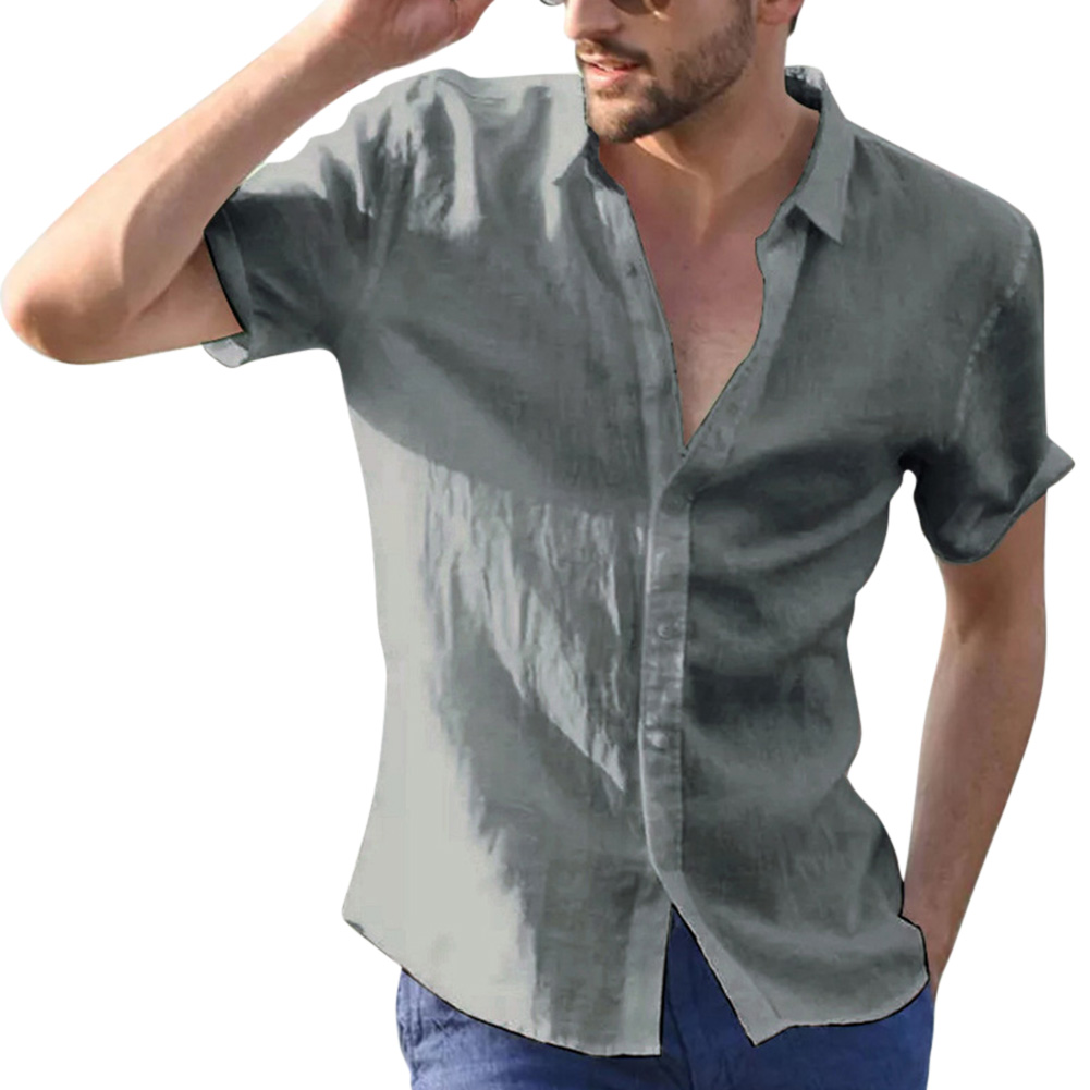 Men Casual Short Sleeves Shirt Concise Solid Color Shirt gray_L