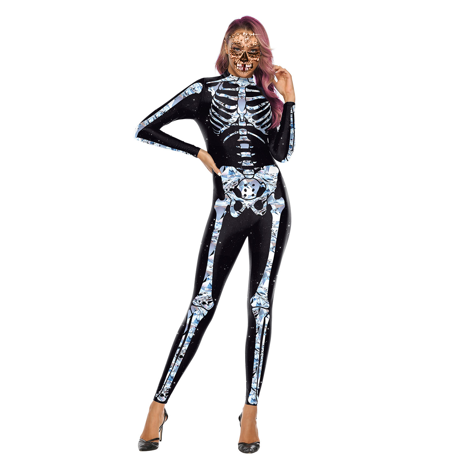Female Skeleton Printing Jumpsuits Scary Cosplaying for Halloween Festival  WB142-004_M