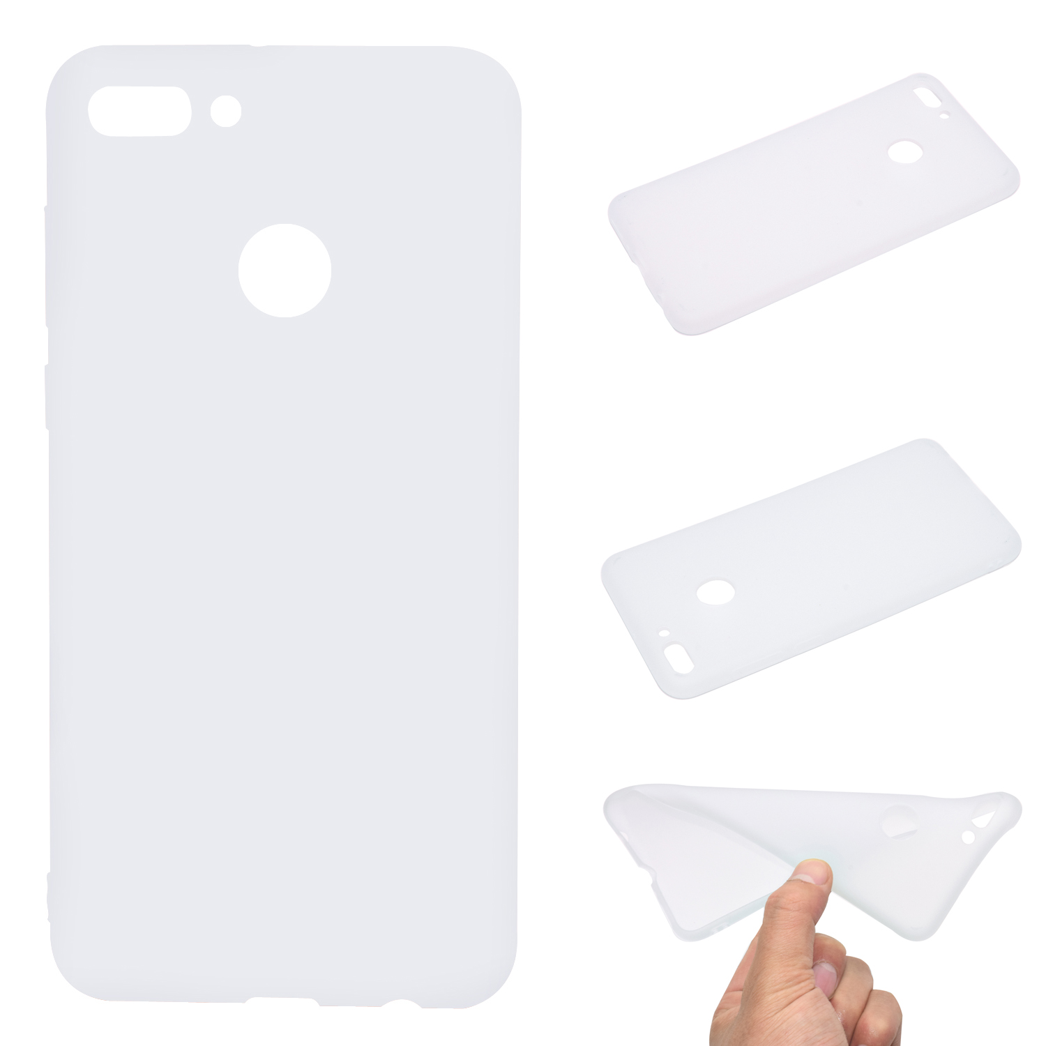 for HUAWEI Y9 2018 Lovely Candy Color Matte TPU Anti-scratch Non-slip Protective Cover Back Case white