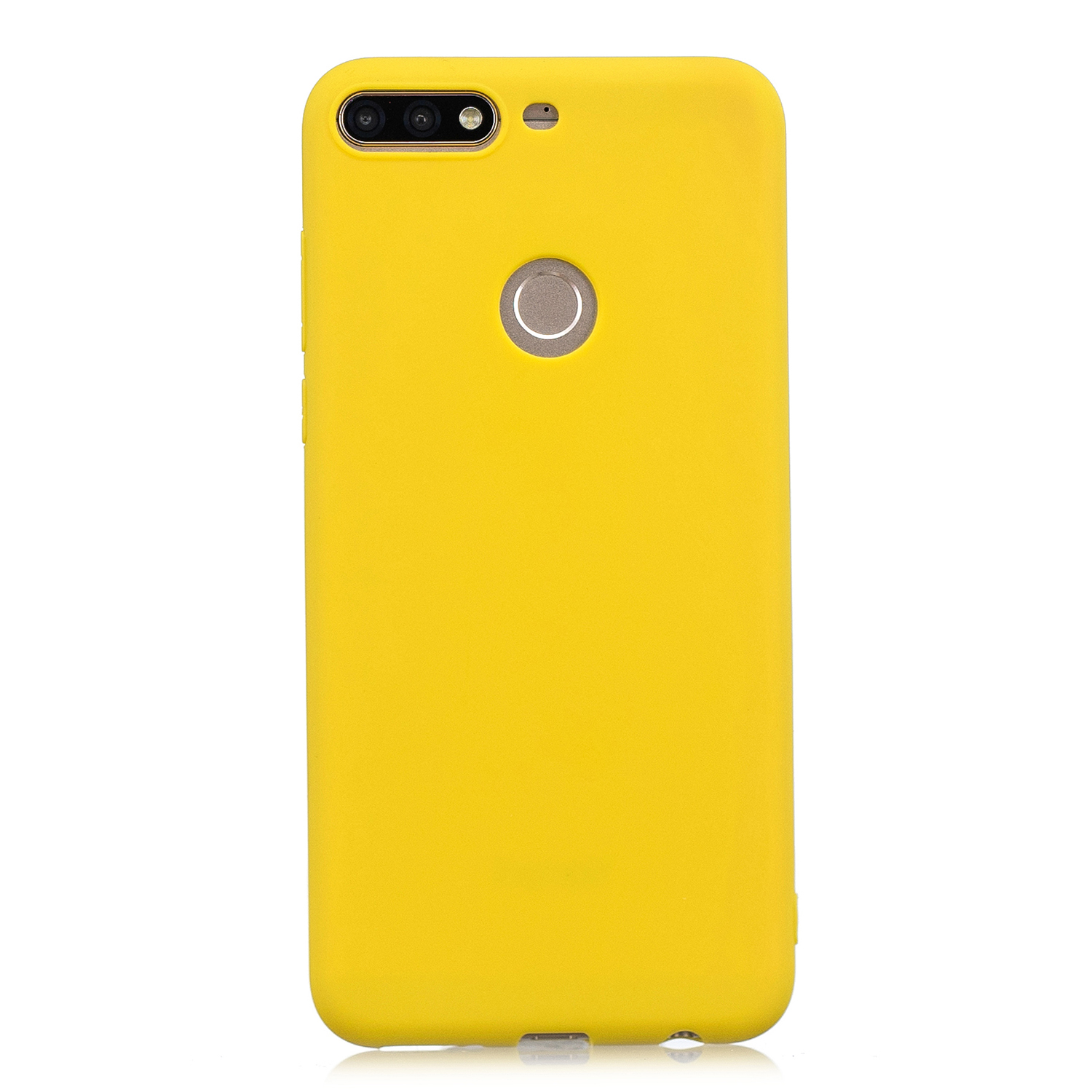 for HUAWEI Y9 2018 Lovely Candy Color Matte TPU Anti-scratch Non-slip Protective Cover Back Case yellow