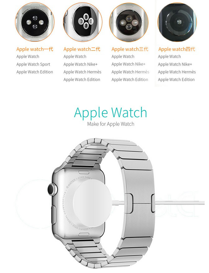 QI Wireless Charger for Apple Watch Magnetic Charger for iwatch 1 2 3 4 Fast Charging Station PC white shell