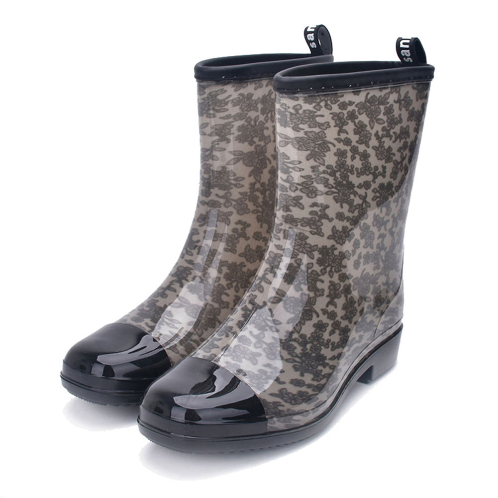 Fashion Water Boots Rain Boots Anti-slip Wear-resistant Waterproof For Women and Lady Grey_36