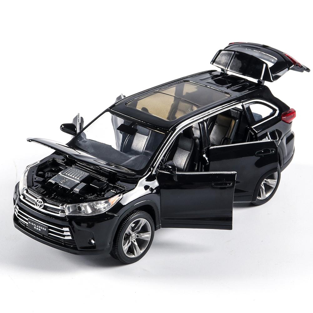 Aluminum Alloy Doors Open Light Sound Car Model Pull Back Toy for Kids black