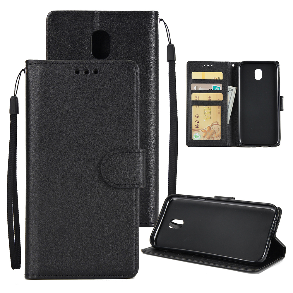 For Samsung J7 PLUS/J7+ Full Protective Clip Case Cover PU Stylish Shell with Card Slot black