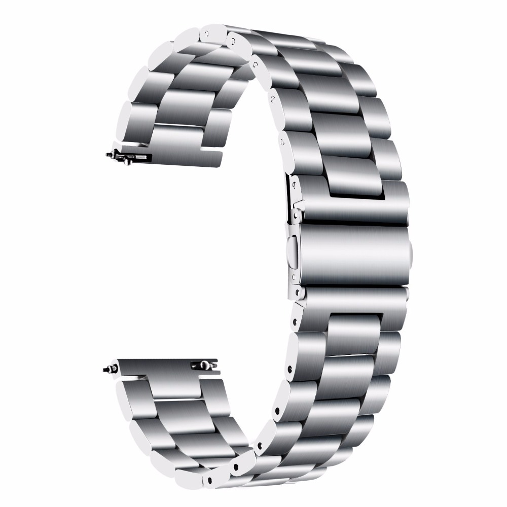20/22mm Stainless Steel Watch Band Universal for Ticwatch/Moto 360 2nd 460/Samsung Gear S3/HUAWEI GT Metal Wristband silver_20CM