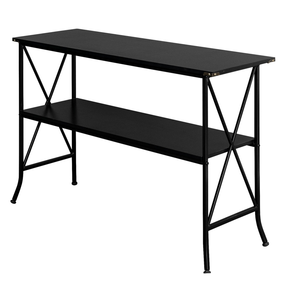[US Direct] Console  Table With Crisscross Designs On Each Side 2 Tier Household Furniture black