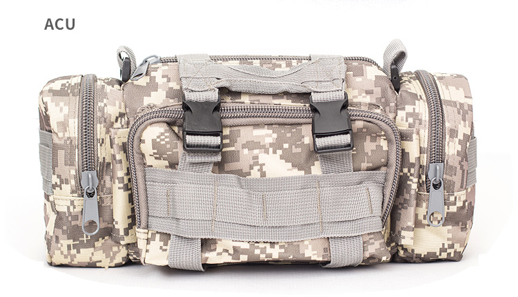 Large Capacity Sports Outdoor Leisure Pockets Photography SLR Camera Multi-function Shoulder Bag Waist Bag ACU camouflage_15 inches