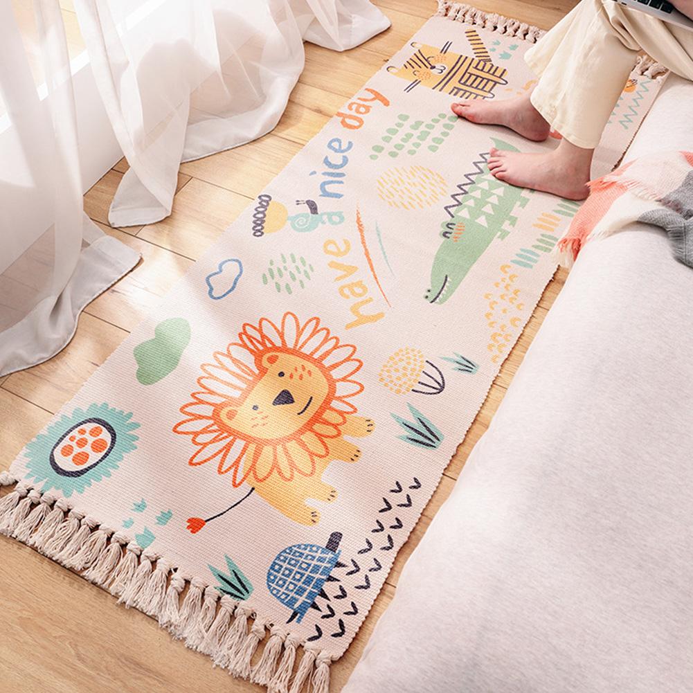 60*150cm Hand-woven Cotton Carpet Non-slip Floor Mat Living Room Bedroom Rug with Tassel 60 * 150cm