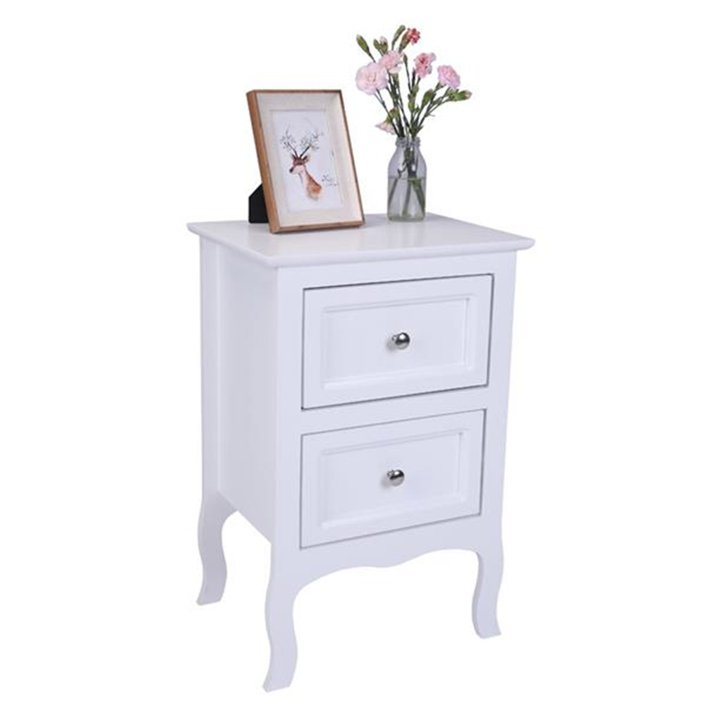 [US Direct] Side End Wood Bedside Tables White Nightstand With 2 Drawer Country Style with Storage Drawer white