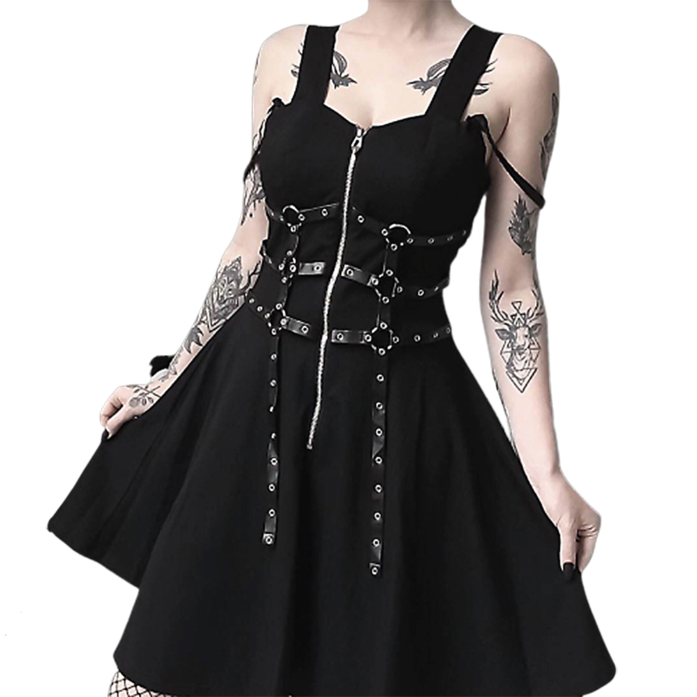 Women Fashion PU Belt Zipper Pleated A Line Street Style Dress for Halloween black_M