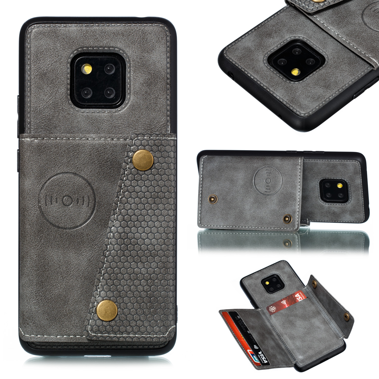 For HUAWEI MATE 20 PRO Double Buckle Non-slip Shockproof Cell Phone Case with Card Slot Bracket gray
