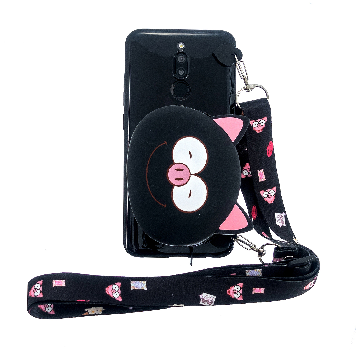 For Redmi 8/Redmi 8A Case Mobile Phone Shell Shockproof Cellphone TPU Cover with Cartoon Cat Pig Panda Coin Purse Lovely Shoulder Starp  Black