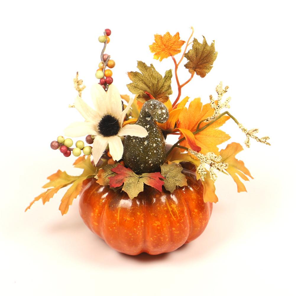 Home Simulate Maple Leaves Pumpkin Shape Halloween Decorative Prop QJ703