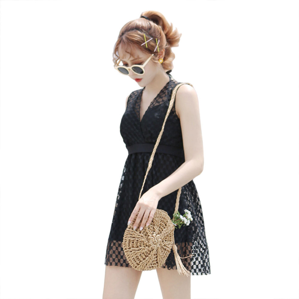 Female  Swimsuit  Skirt-style One-piece Sexy Lace Skirt Conservative Fresh Swimsuit black_L