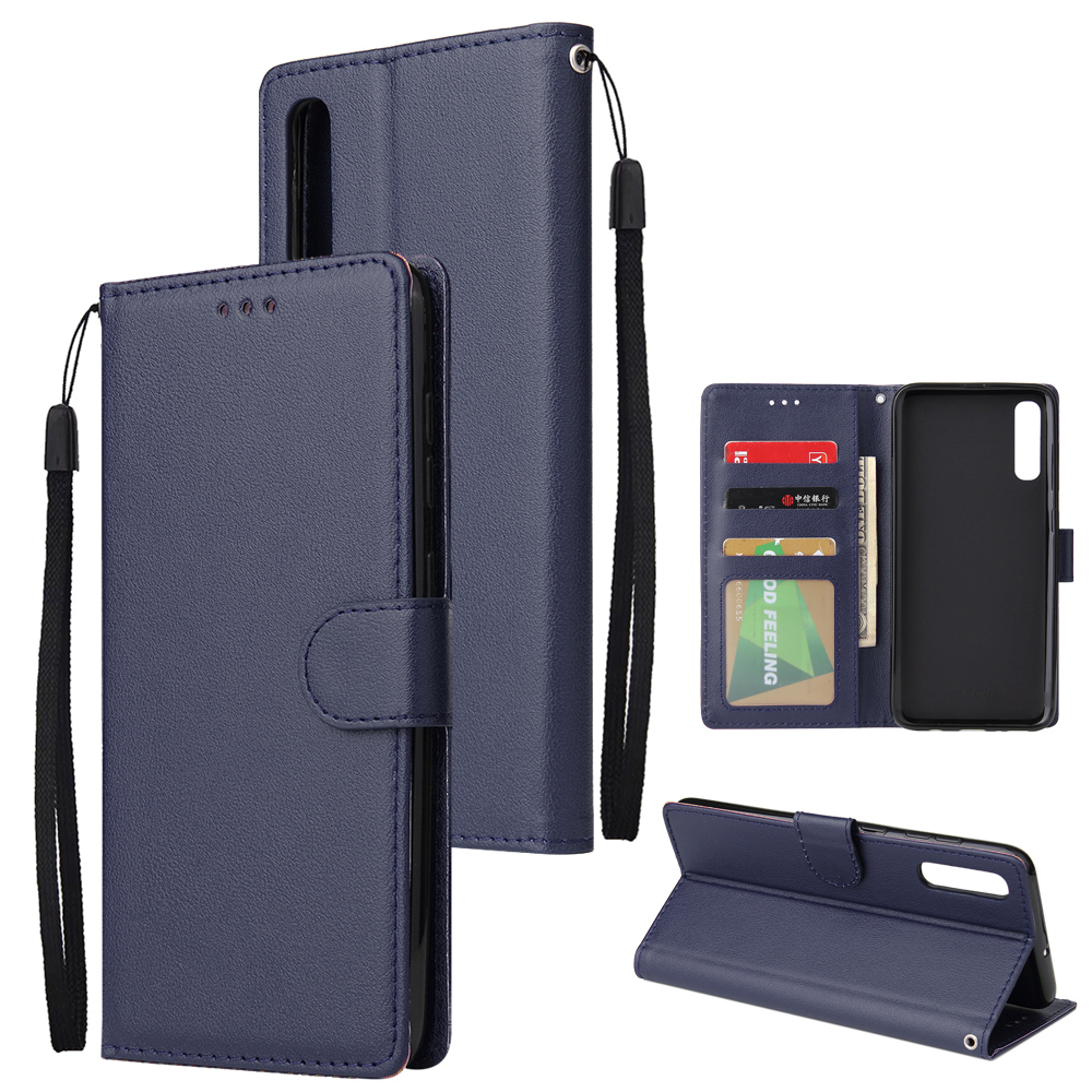 For Samsung A70 Wallet-type PU Leather Protective Phone Case with Buckle & 3 Card Position blue