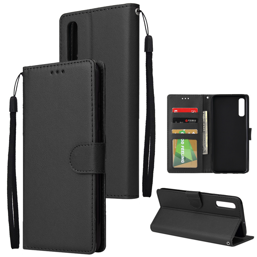 For Samsung A70 Wallet-type PU Leather Protective Phone Case with Buckle & 3 Card Position black